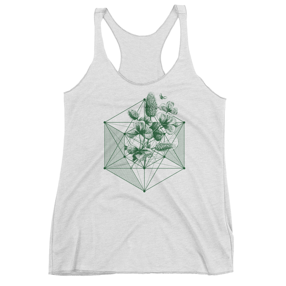 Sacred Geometry Tank Top - Hexagon Clover - Heather White