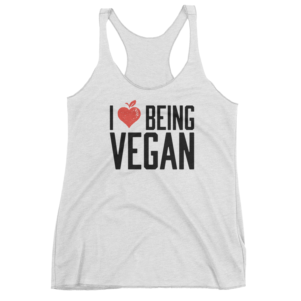 Vegan Tank Top - I Love Being A Vegan - Heather White