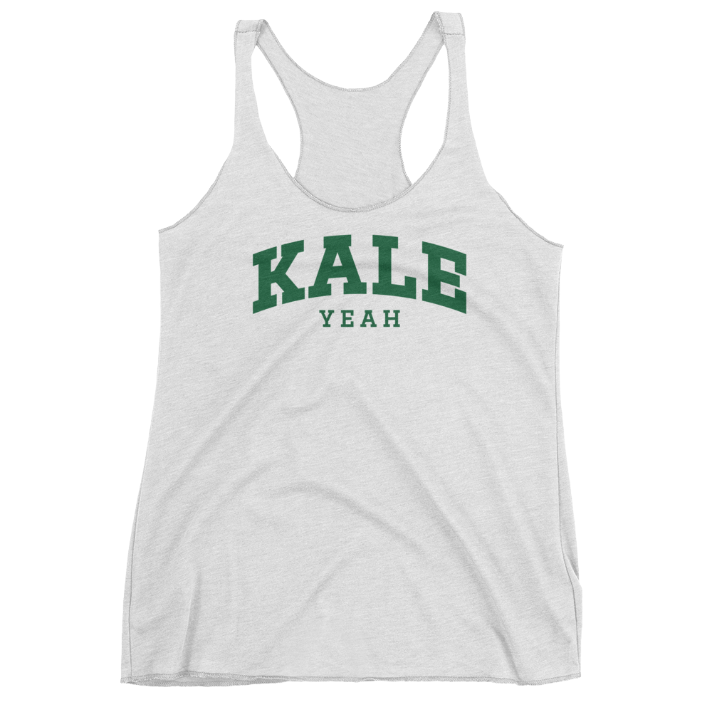 Vegan Tank Top - Kale Yeah College - Heather White