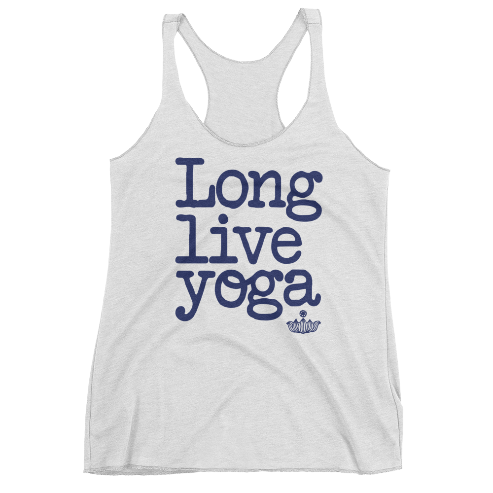 Vegan Yoga Tank Top - Long Live Yoga  - Heather White