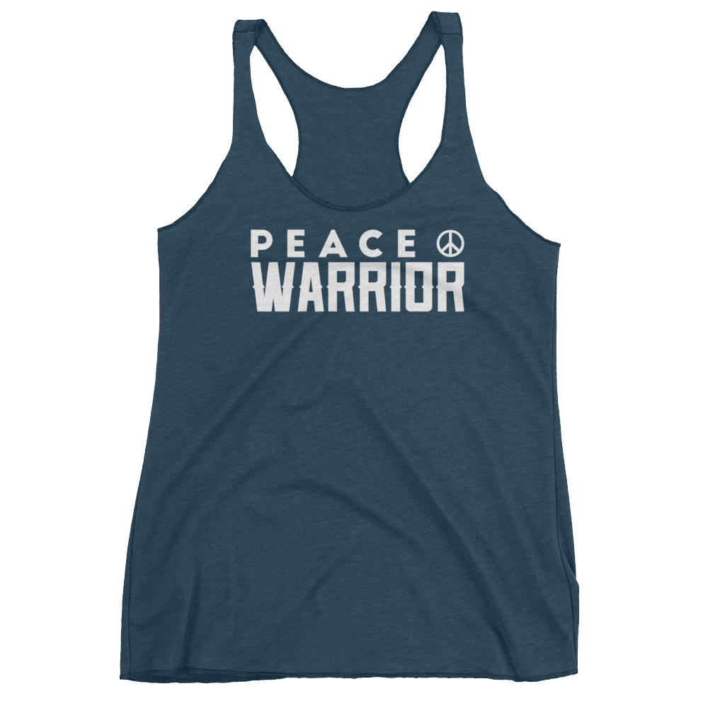 Vegan Yoga Tank Top - Peace Warrior - Indigo