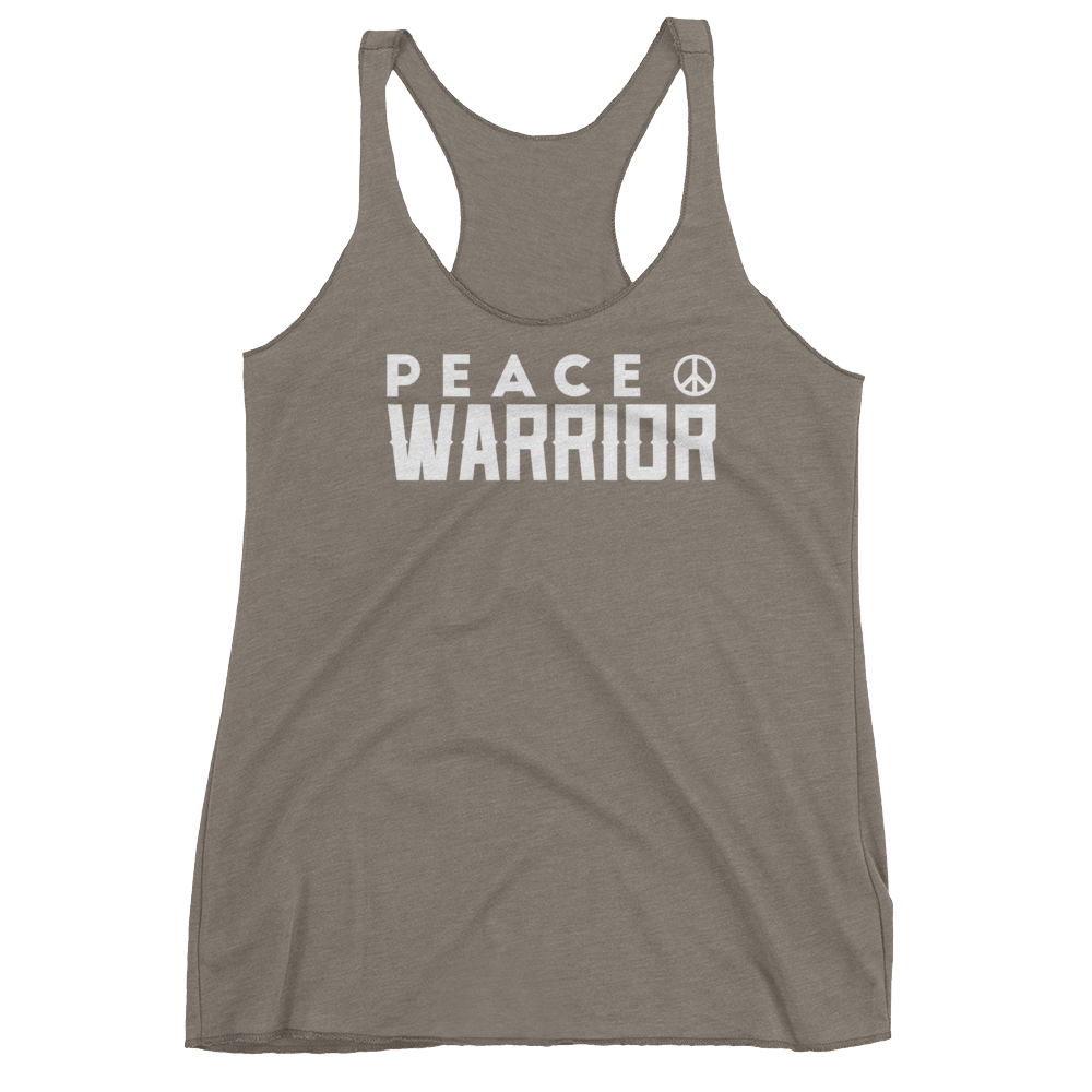Vegan Yoga Tank Top - Peace Warrior - Venetian Grey