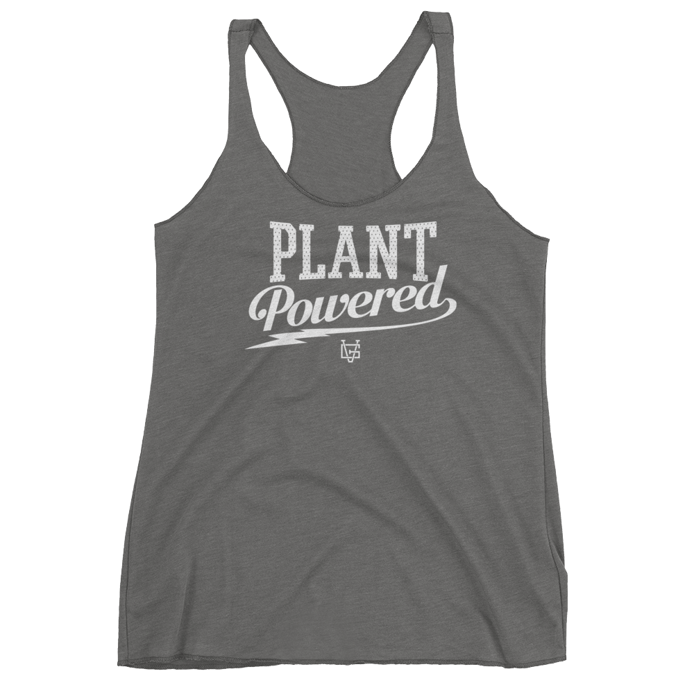 Vegan Tank Top - Plant Powered Thunder - Premium Heather