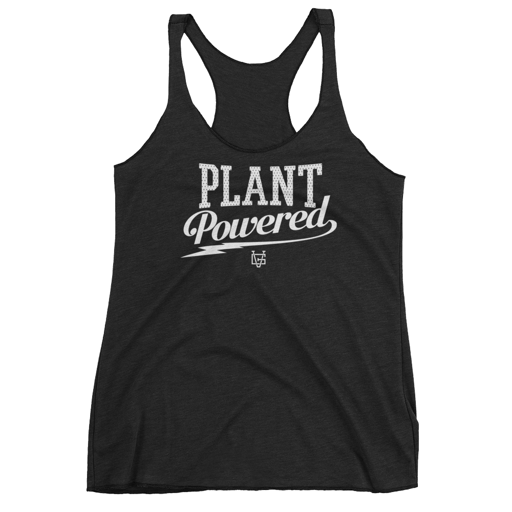 Vegan Tank Top - Plant Powered Thunder - Vintage Black