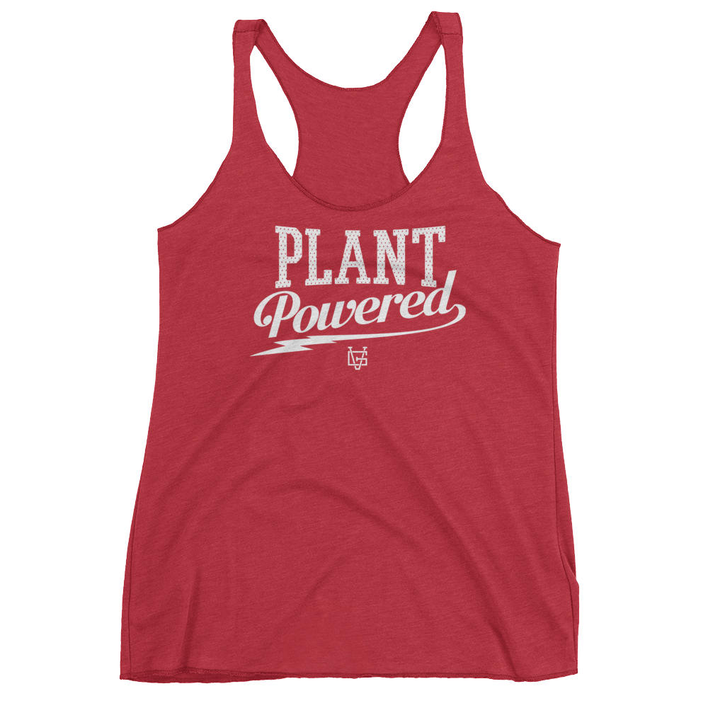 Vegan Tank Top - Plant Powered Thunder - Vintage Red