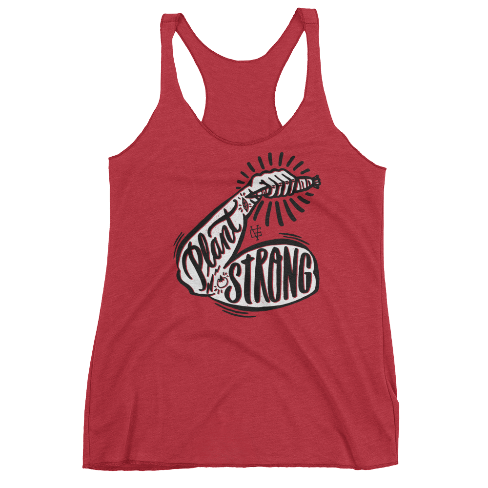 Vegan Tank Top - Plant Strong - Vintage Red