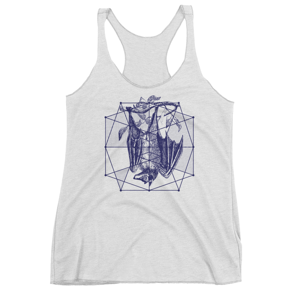 Sacred Geometry Tank Top - Polygon Formation Bat - Heather White