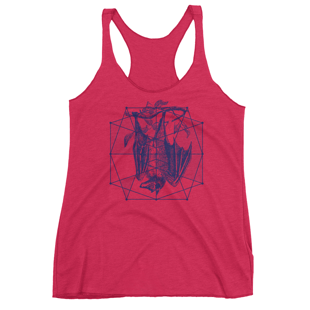 Sacred Geometry Tank Top - Polygon Formation Bat - Vintage Shocking Pink
