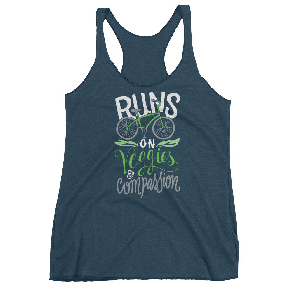 Vegan Tank Top - Runs on veggies and compassion - Indigo
