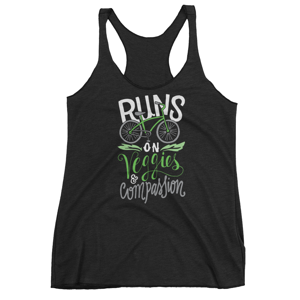 Vegan Tank Top - Runs on veggies and compassion - Vintage Black
