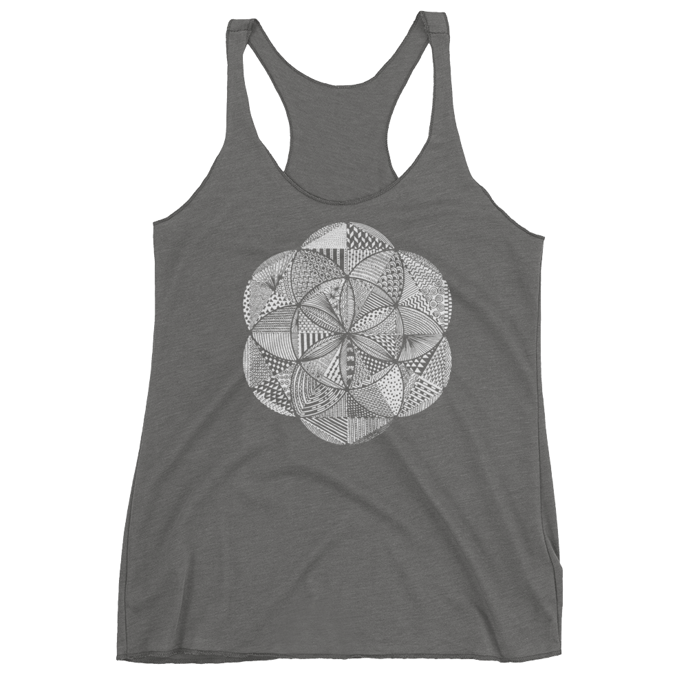 Sacred Geometry Tank Top - Seed of Life Boho - Premium Heather