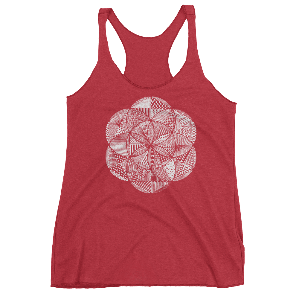 Sacred Geometry Tank Top - Seed of Life Boho - Vintage Red