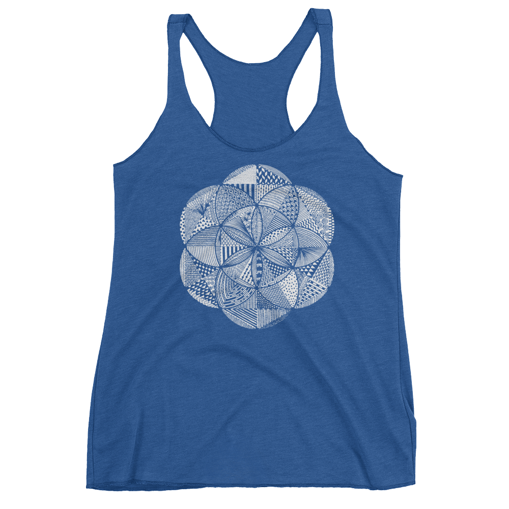 Sacred Geometry Tank Top - Seed of Life Boho - Vintage Royal