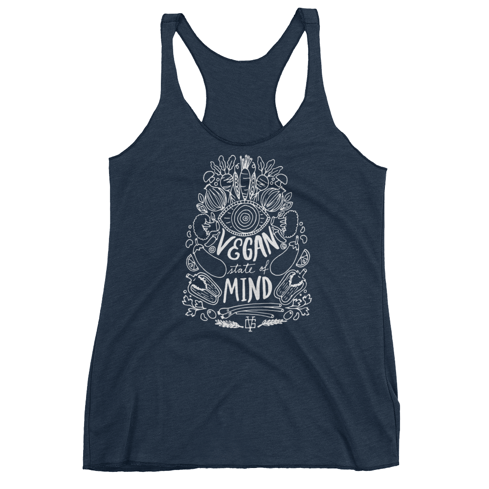 Vegan Tank Top - Vegan State Of Mind - Vintage Navy