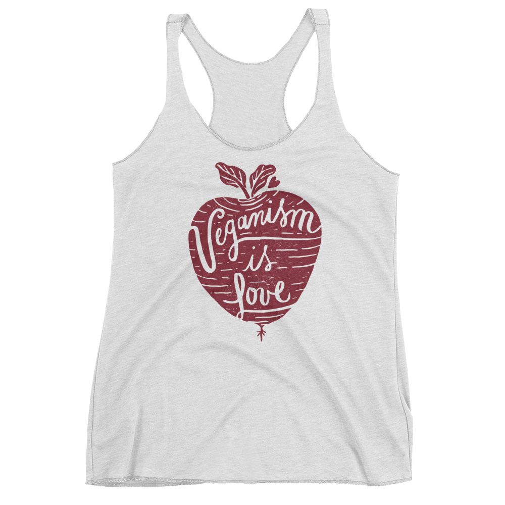 Vegan Tank Top - Veganism Is Love - Heather White