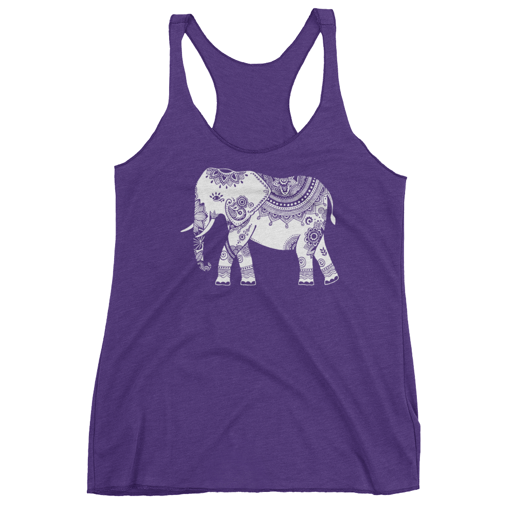 Vegan Yoga Tank Top - White Elephant - Purple Rush