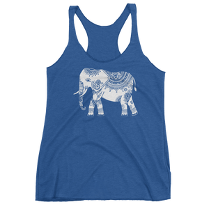 Vegan Yoga Tank Top - White Elephant - Vintage Royal