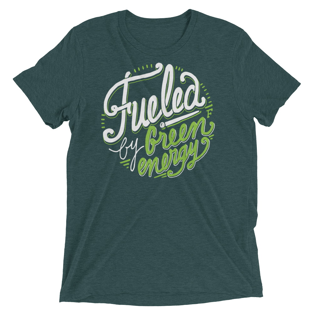 Vegan T-Shirt - Fueled by green energy - Charcoal Black