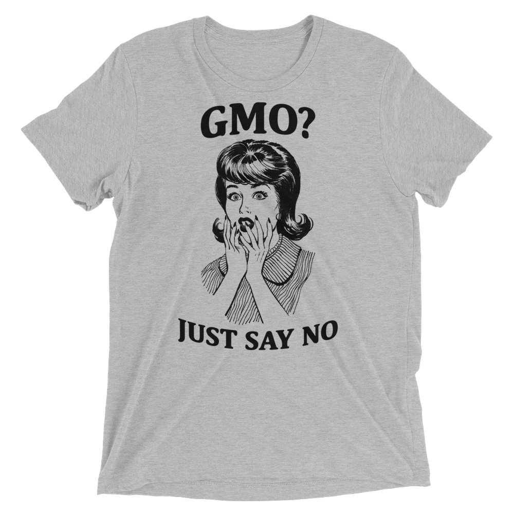 Vegan T-Shirt - GMO Just say NO - Athletic Grey