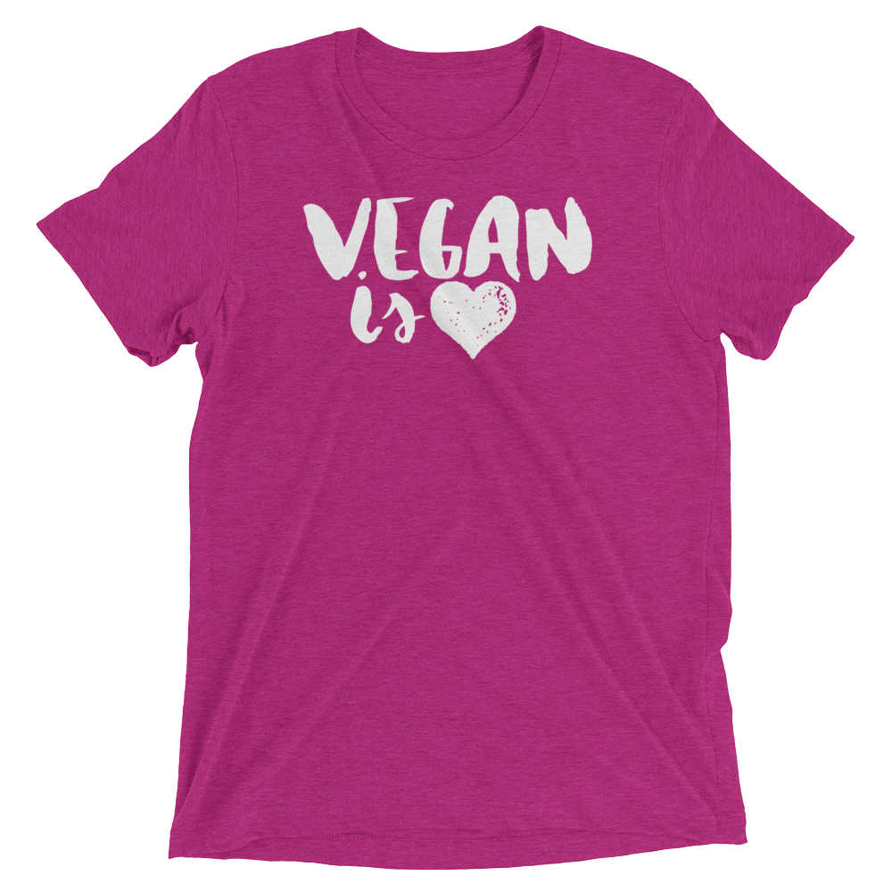 Vegan T-Shirt - Vegan is Love - Berry