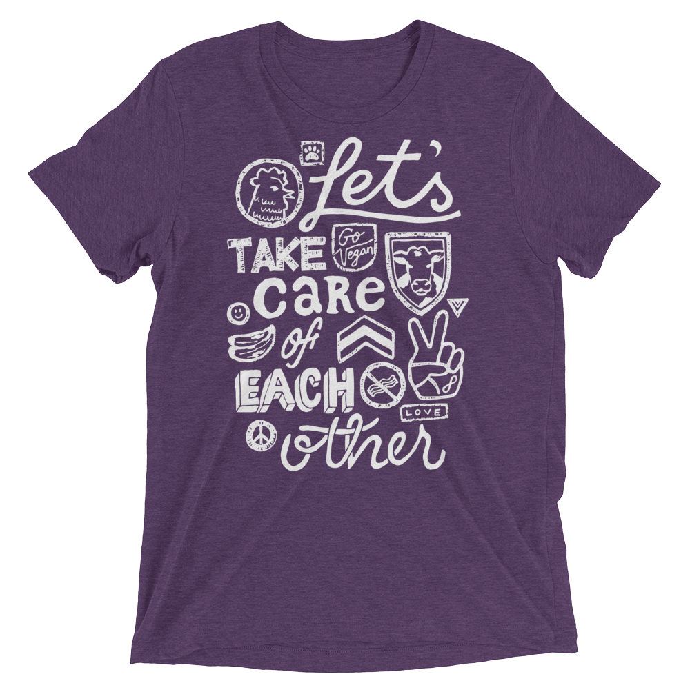 Vegan T-Shirt - Let's Take Care of Each Other  - Purple