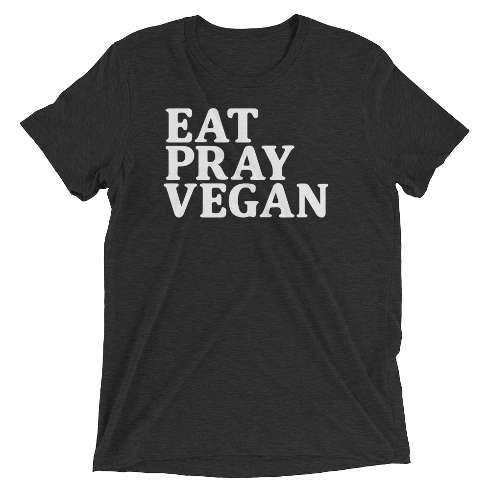 Vegan T-Shirt - Eat pray vegan - Charcoal Black