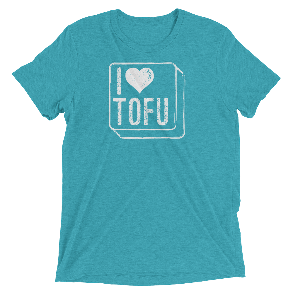 Vegan T-Shirt - I Love Tofu - Aqua