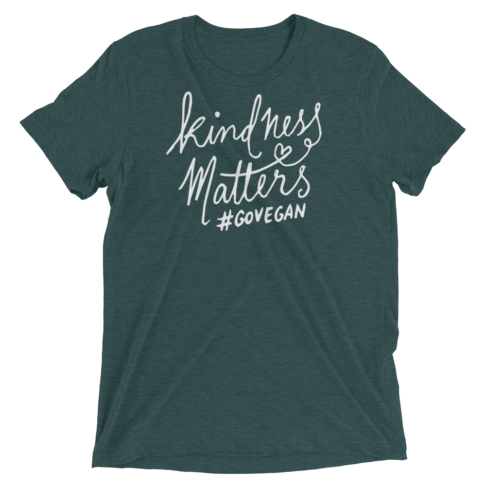 Vegan T-Shirt - Kindness Matters go Vegan shirt - Emerald