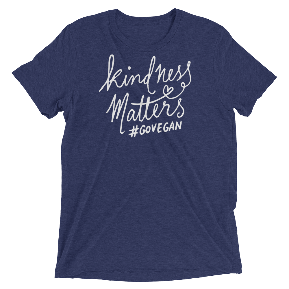Vegan T-Shirt - Kindness Matters go Vegan shirt - Navy