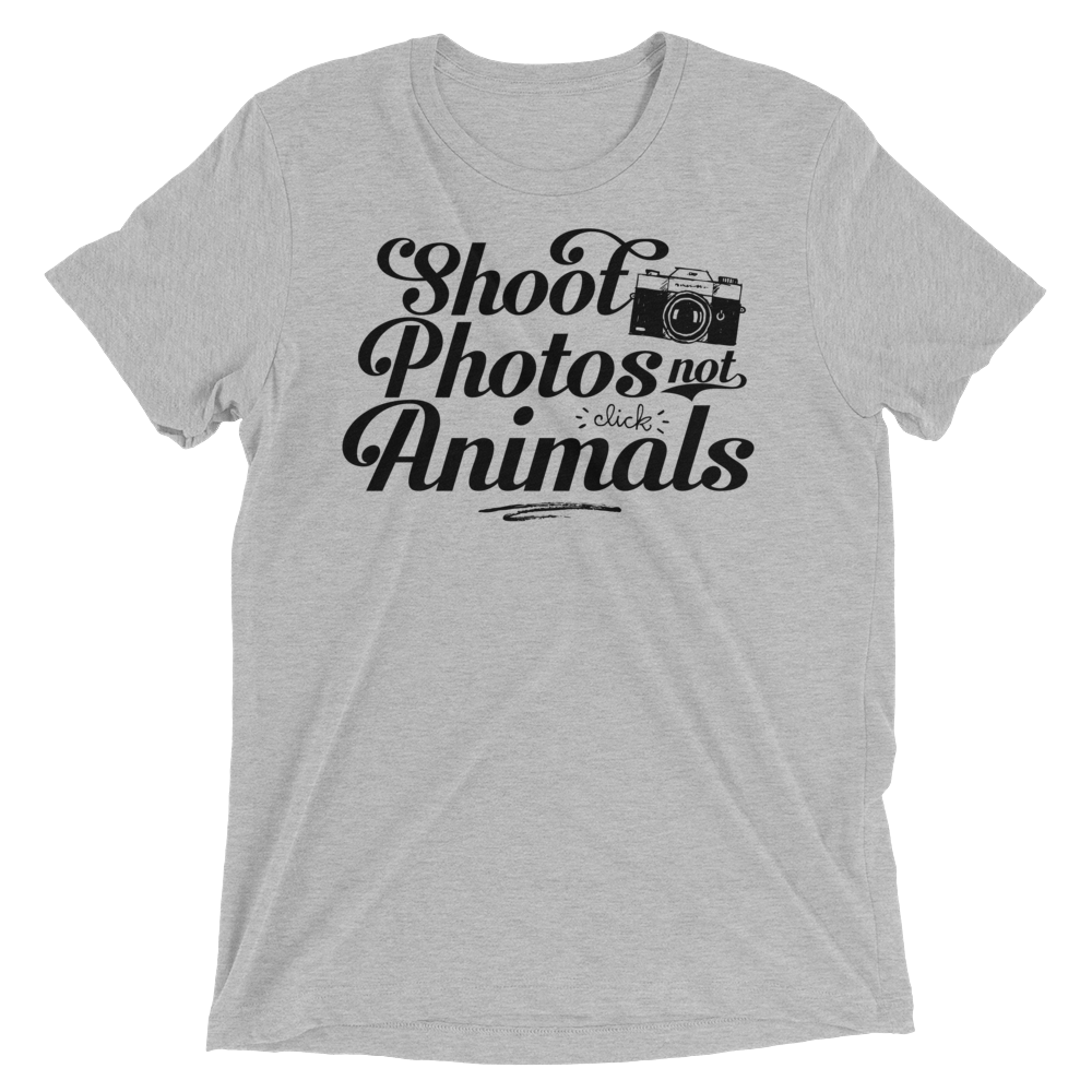 Vegan T-Shirt - Shoot Photos not Animals Shirt - Athletic Grey