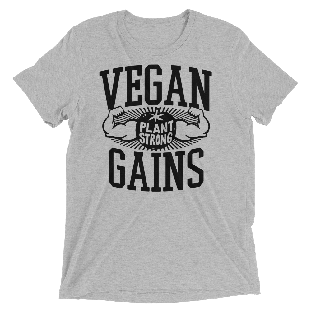 Vegan T-Shirt - Vegan gains shirt - Athletic Grey