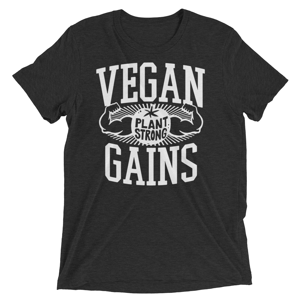 Vegan T-Shirt - Vegan gains shirt - Charcoal Black