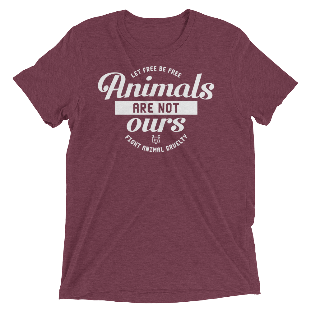 Vegan T-Shirt - Animals are not ours - Maroon