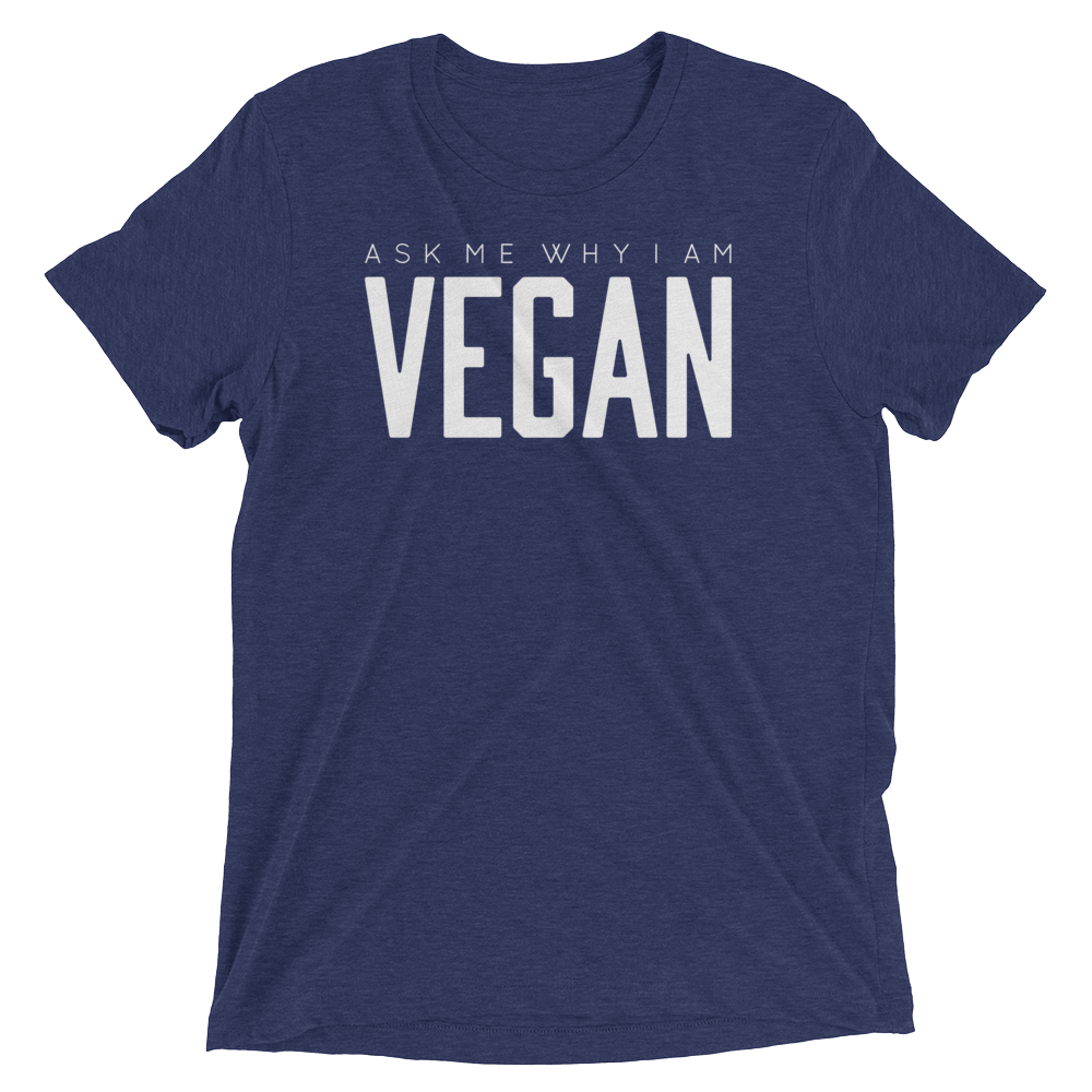 Vegan T-Shirt - Ask me why I'm vegan - Navy