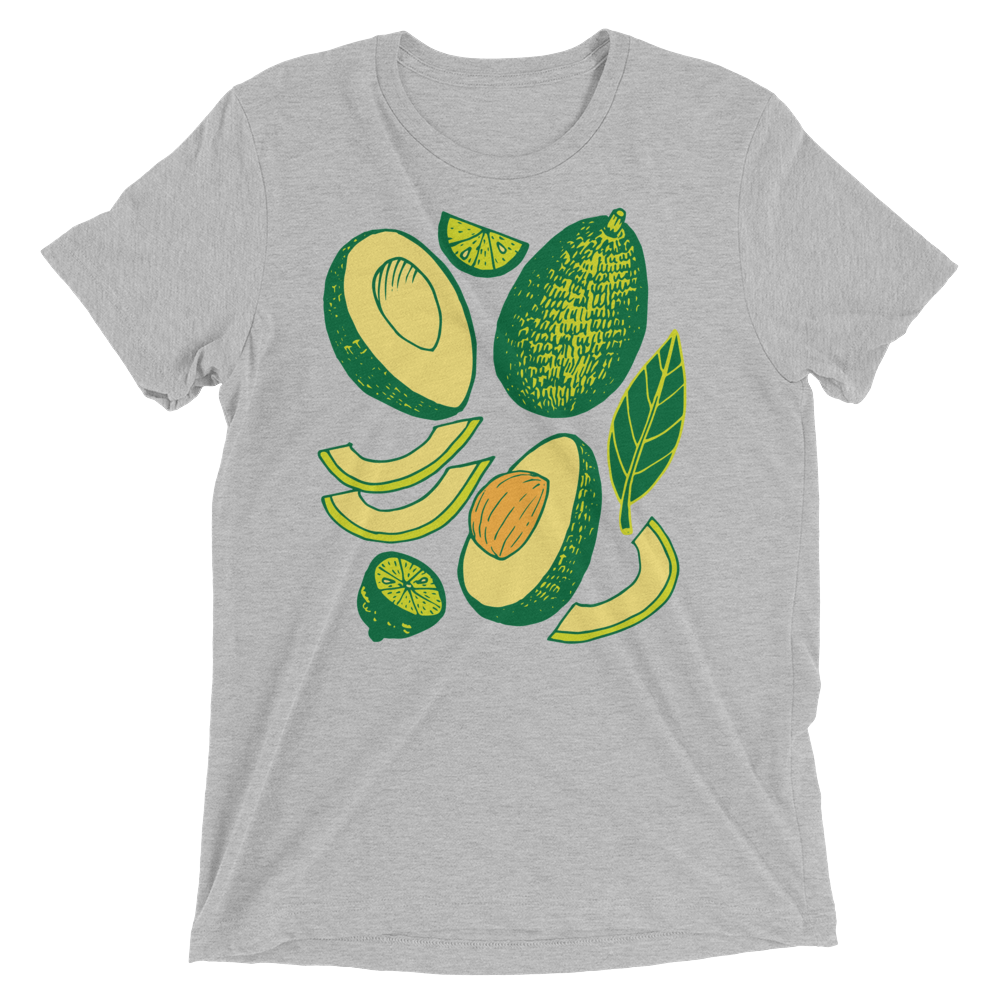 Vegan T-Shirt - Avocados - Athletic Grey