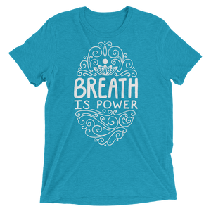 Vegan Yoga Shirt - Breath Is Power - Aqua