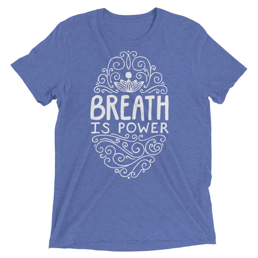 Vegan Yoga Shirt - Breath Is Power - Blue