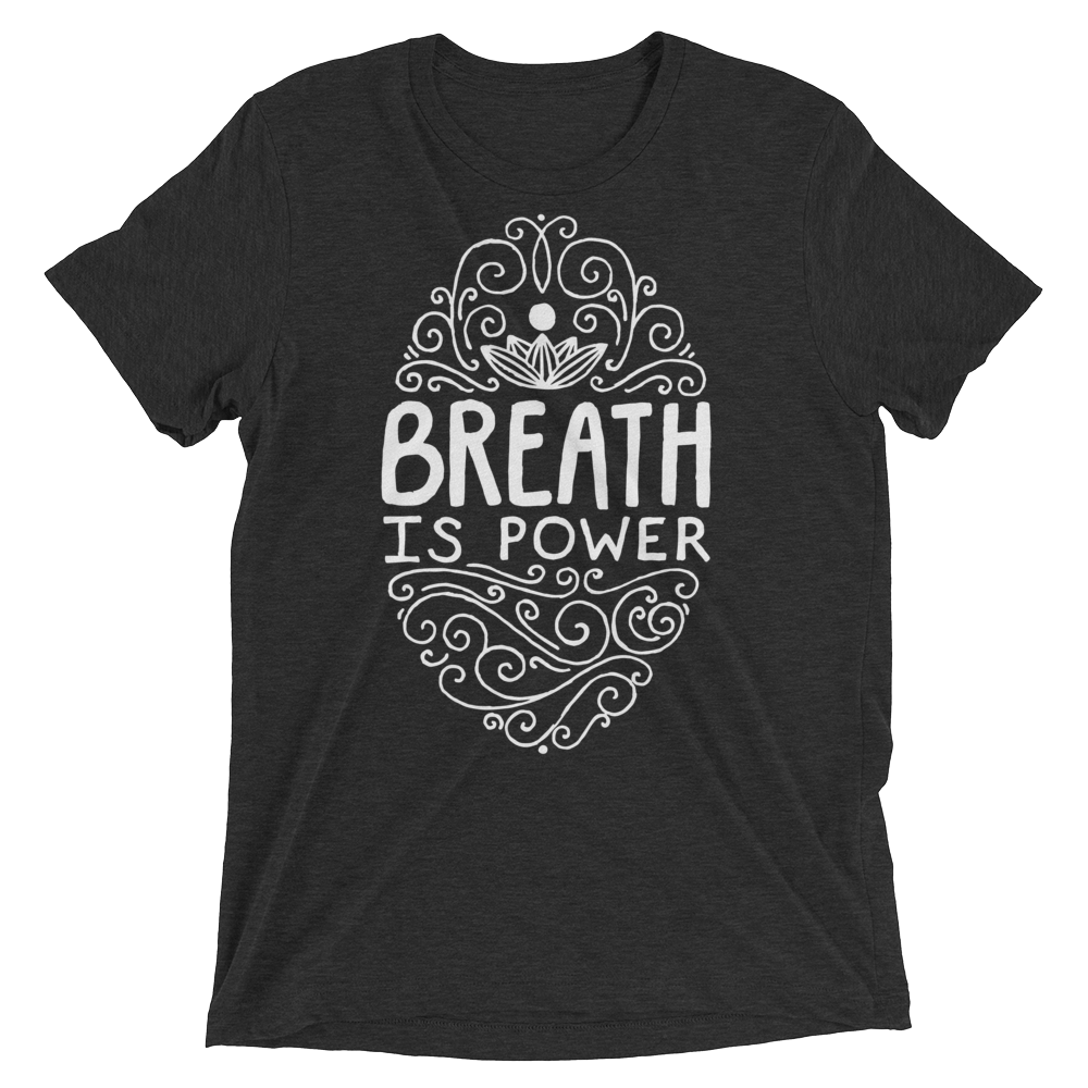 Vegan Yoga Shirt - Breath Is Power - Charcoal Black