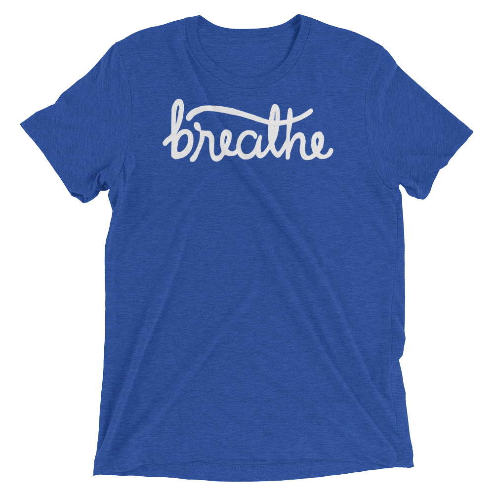 Vegan Yoga Shirt - Breathe - True Royal
