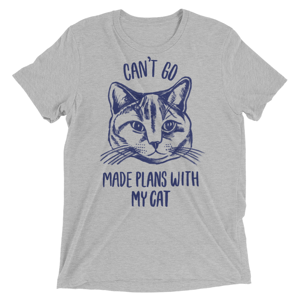 Vegan T-Shirt - Can't Go Made Plans With My Cat - Athletic Grey