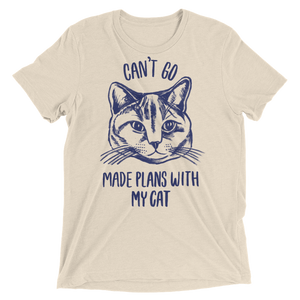 Vegan Shirt - Can't Go Made Plans With My Cat - Oatmeal