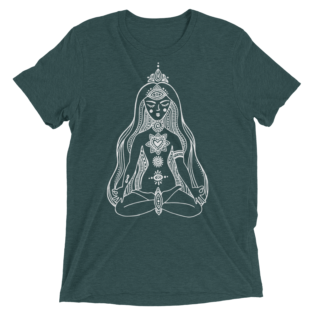Vegan Yoga Shirt - Chakras Girl - Emerald