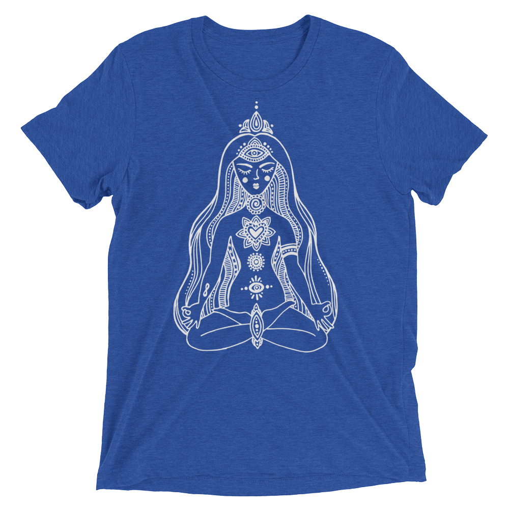 Vegan Yoga Shirt - Chakras Girl - True Royal