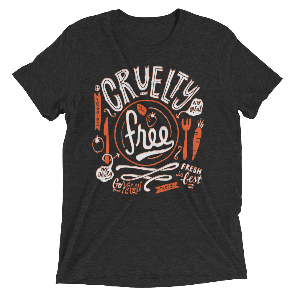 Vegan T-Shirt - Cruelty Free - Charcoal Black