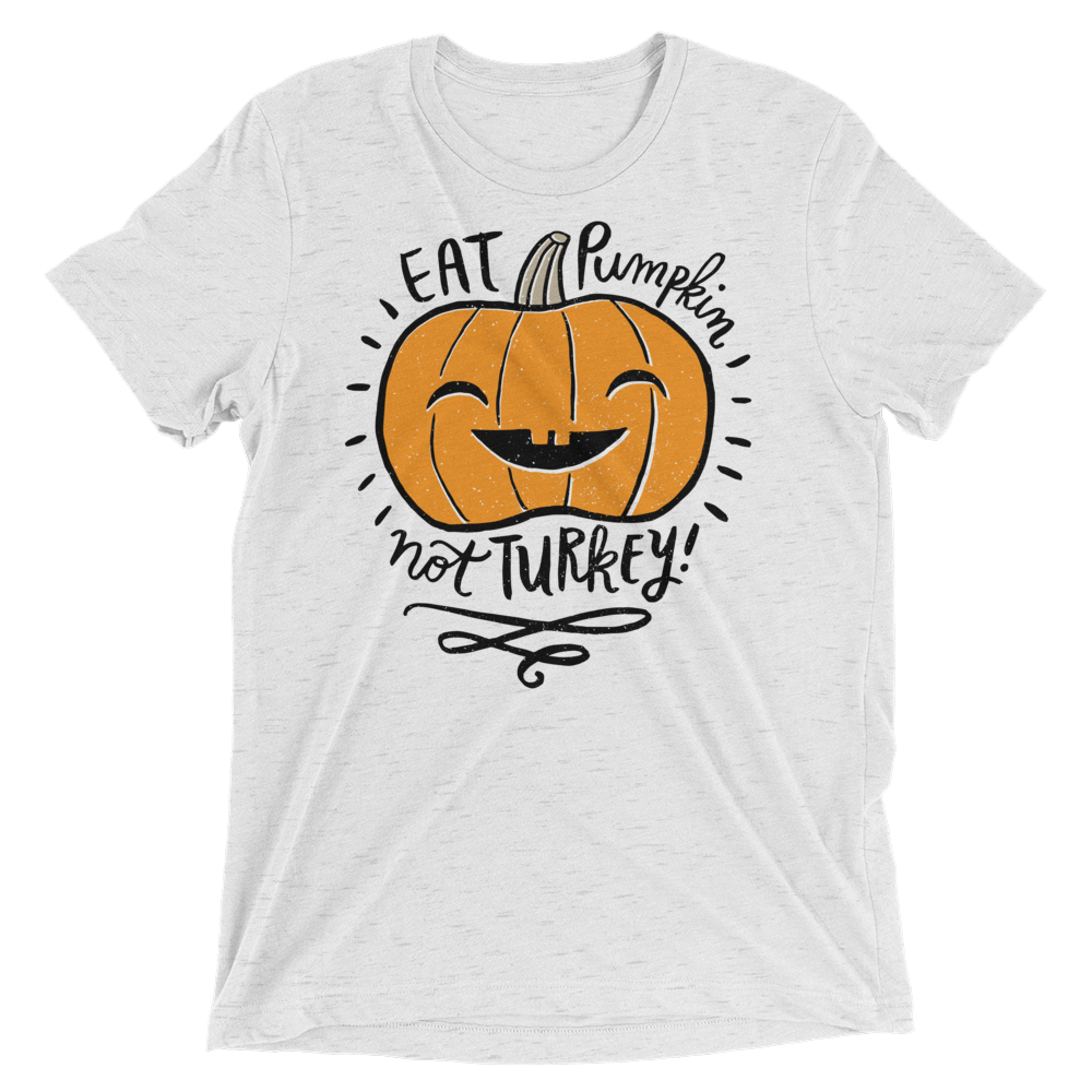 Vegan T-Shirt - Eat Pumpkin Not Turkey - White Fleck