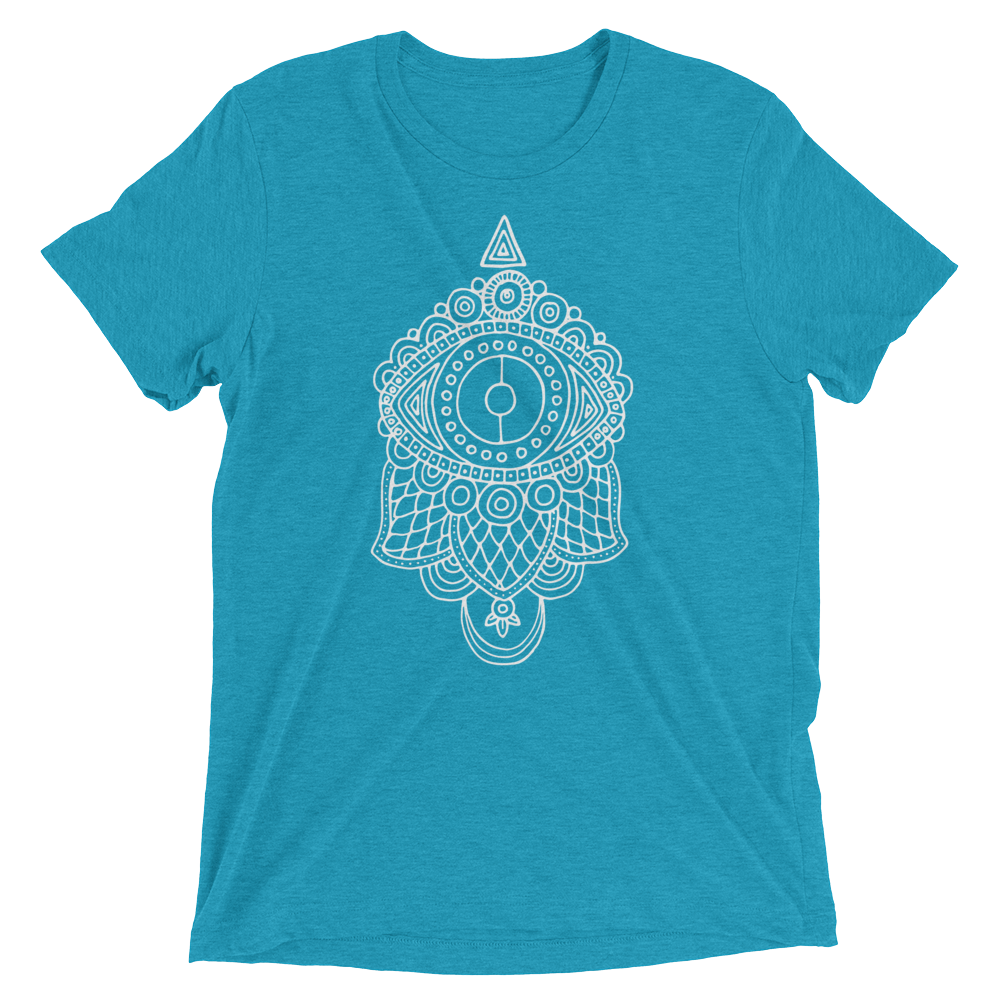 Vegan Yoga Shirt - Evil Eye Hamsa - Aqua