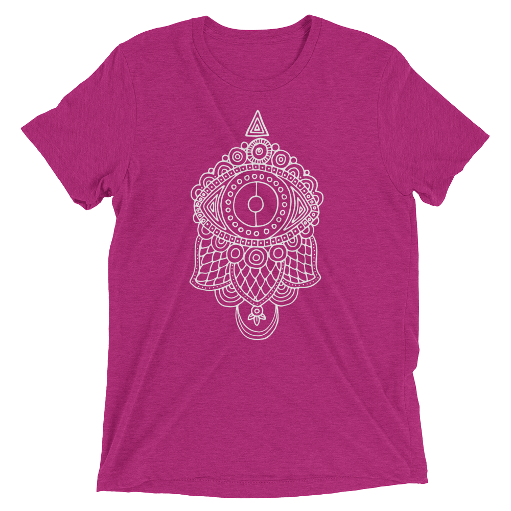 Vegan Yoga Shirt - Evil Eye Hamsa - Berry