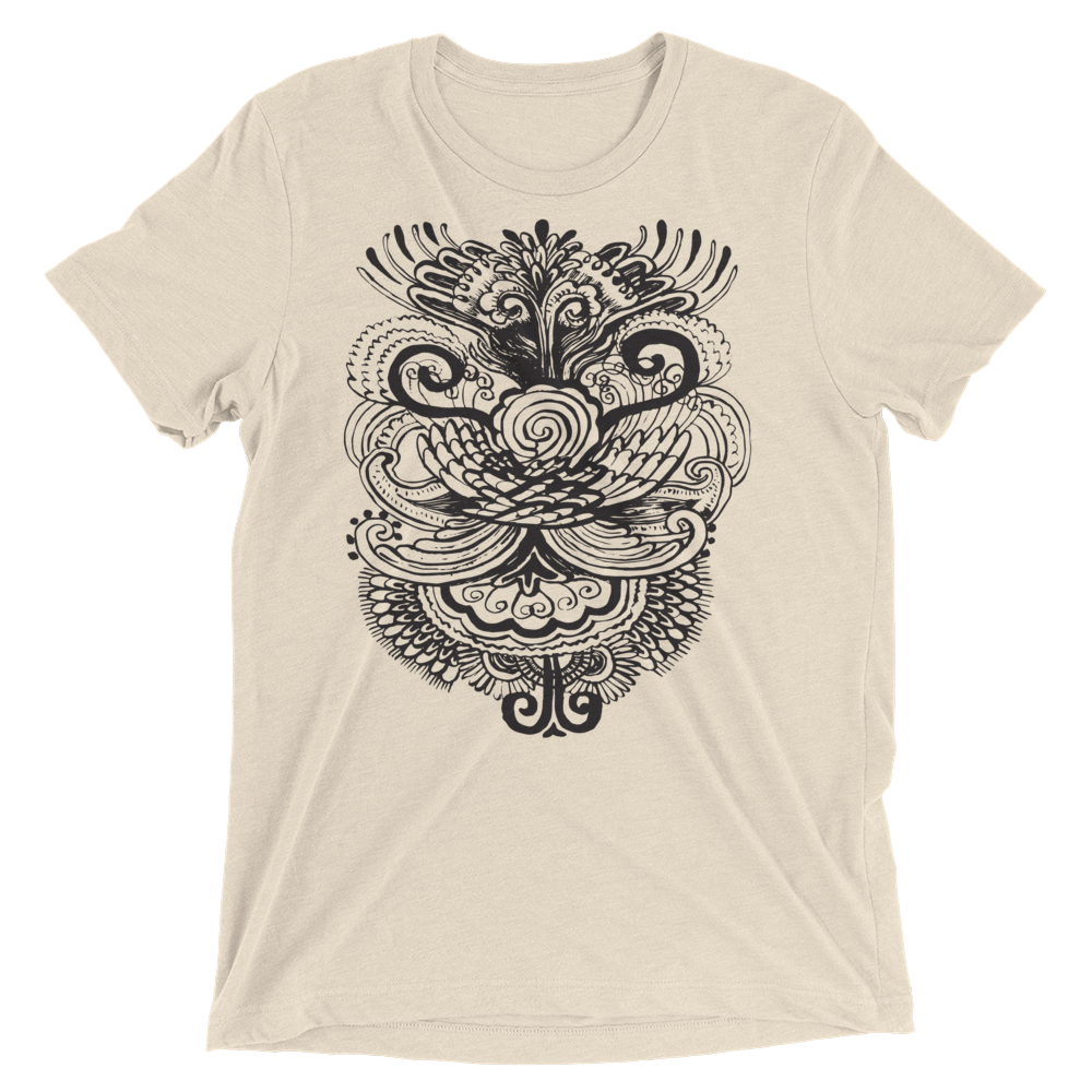 Vegan Yoga Shirt - Henna Bird - Oatmeal