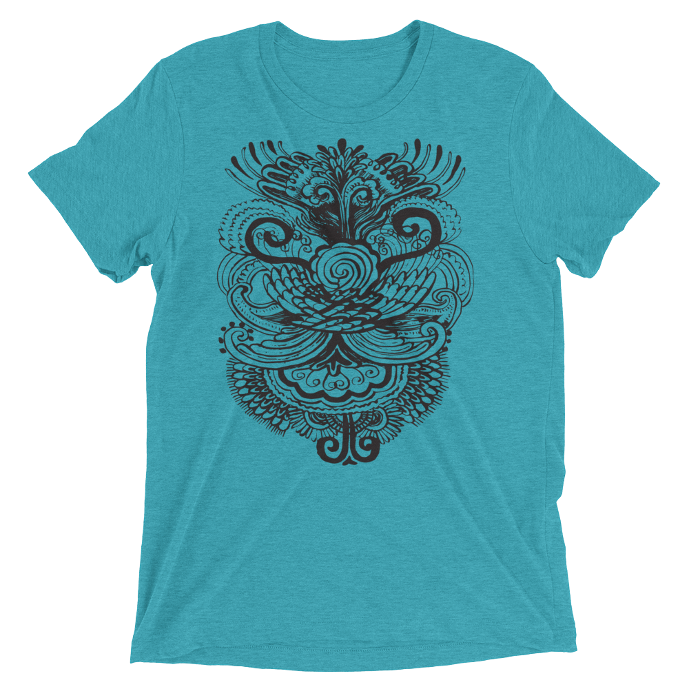 Vegan Yoga Shirt - Henna Bird - Teal