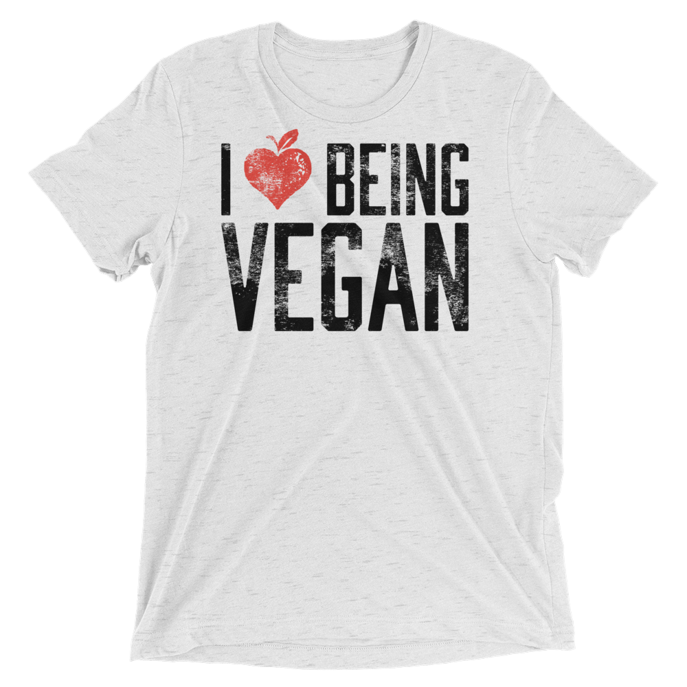 Vegan T-Shirt - I Heart Being Vegan - White Fleck